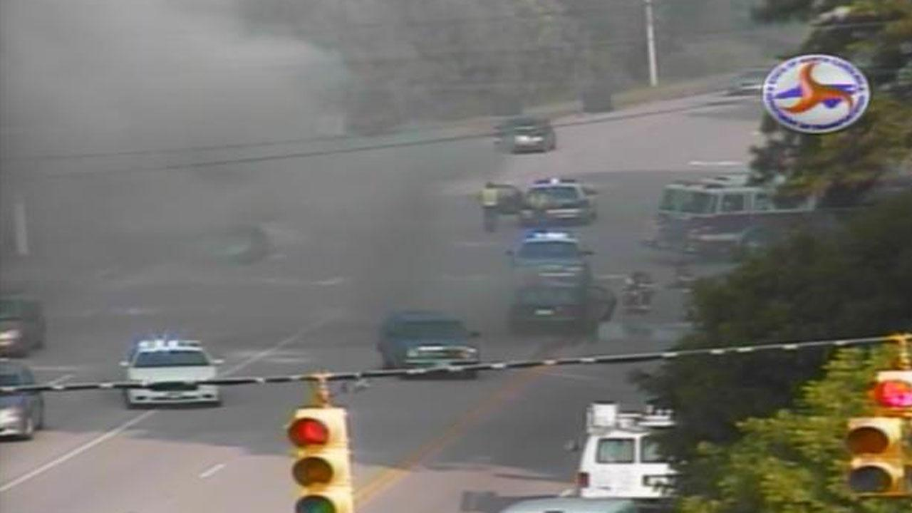A car that caught on fire Thursday morning blocked several lanes of Durant Road near Capital Boulevard in Raleigh during the morning commute.