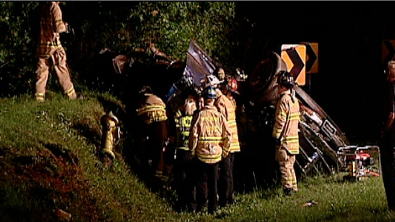 A driver was injured in an overnight accident after a car overturned in Garner.