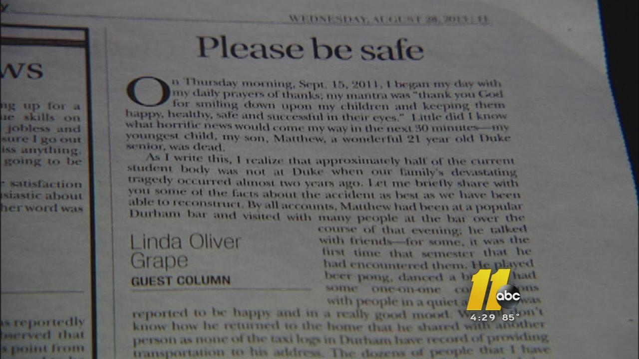 For the second year in a row, Linda Oliver Grape wrote a letter to students in the Duke Chronicle warning them of the dangers of drinking and driving.