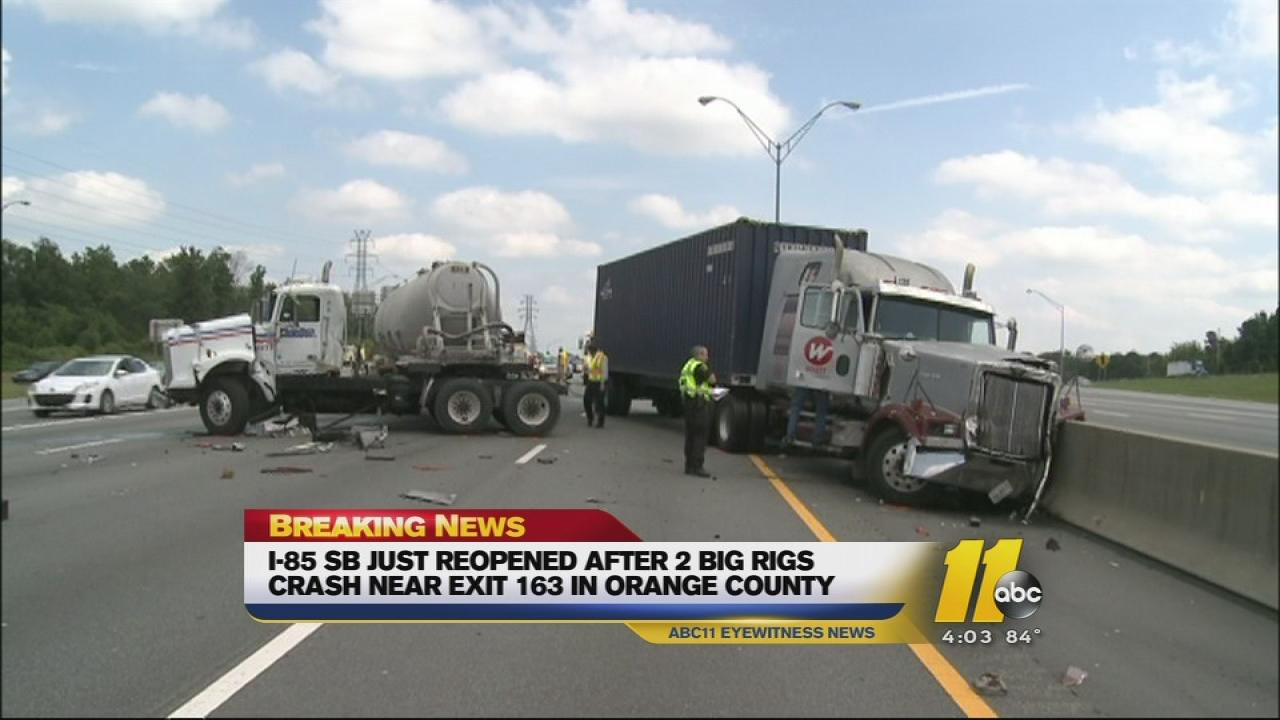 Two trucks and a car collided on I-85 Wednesday.