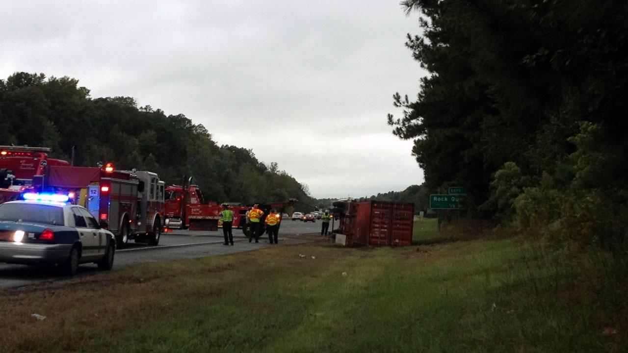 Raleigh police say two lanes on I-40 westbound are shutdown due to an overturned tractor trailer.
