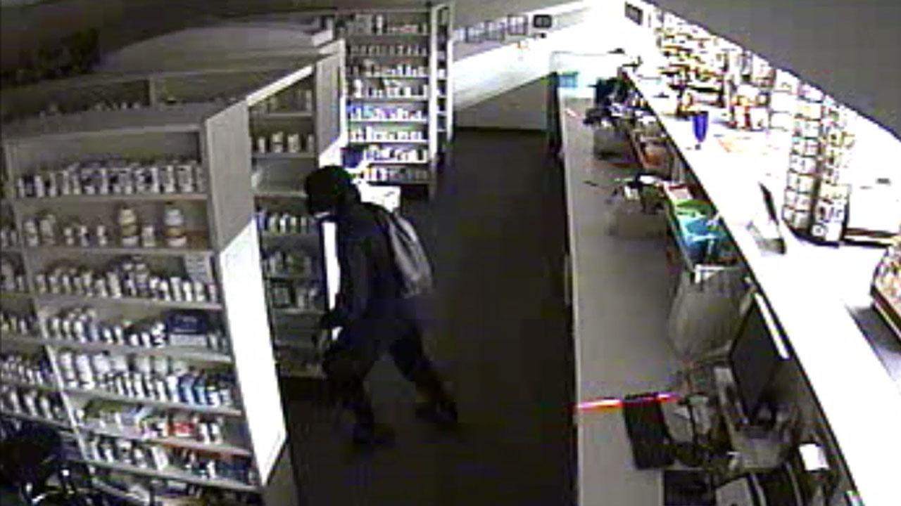 Authorities in Cumberland County are searching for the suspects who allegedly stole thousands of pills from a pharmacy.