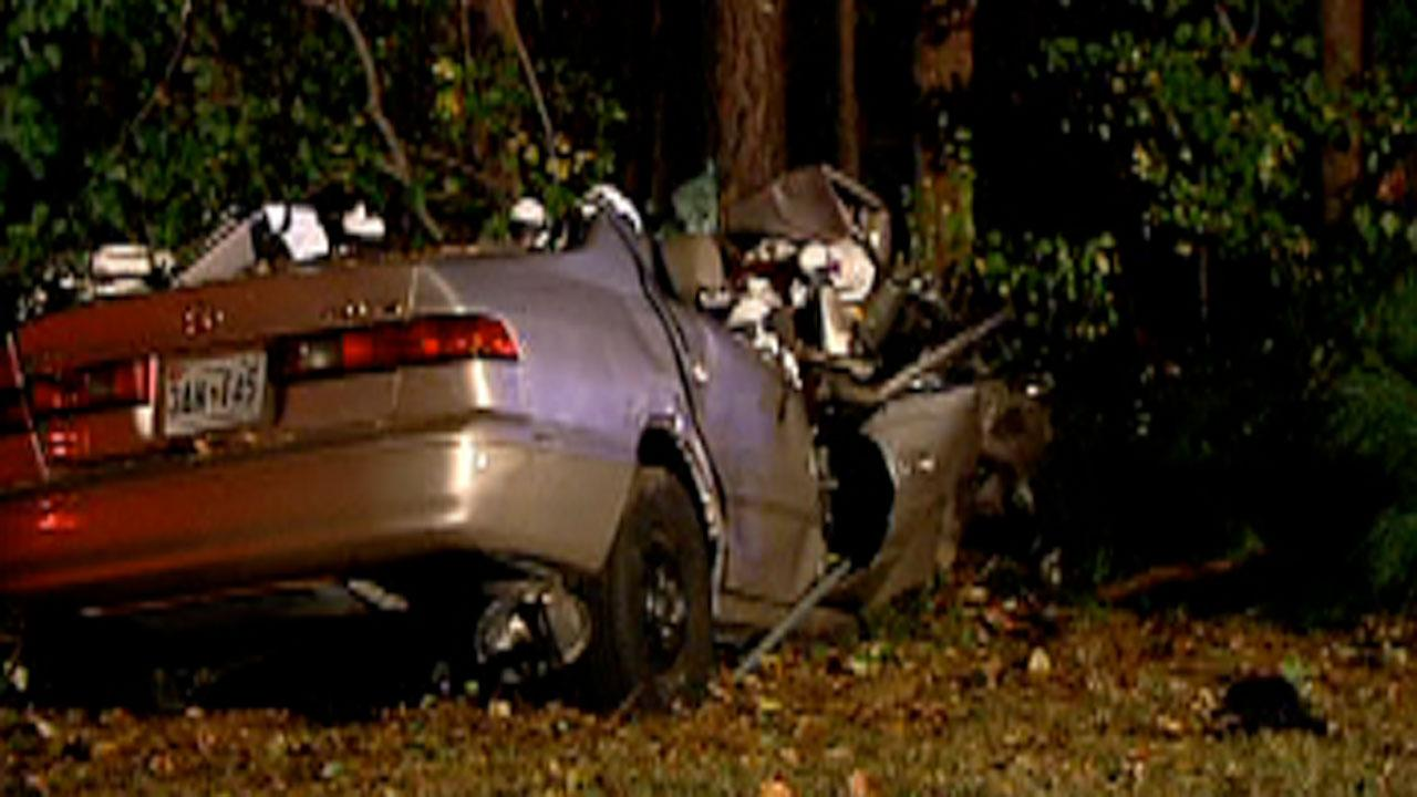 Driver crashed into a tree along Interstate 40 between US 1 and Jones Franklin Road in Raleigh