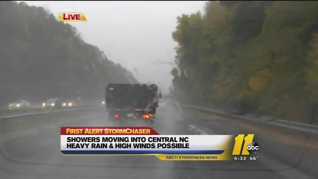 rainy traffic Raleigh