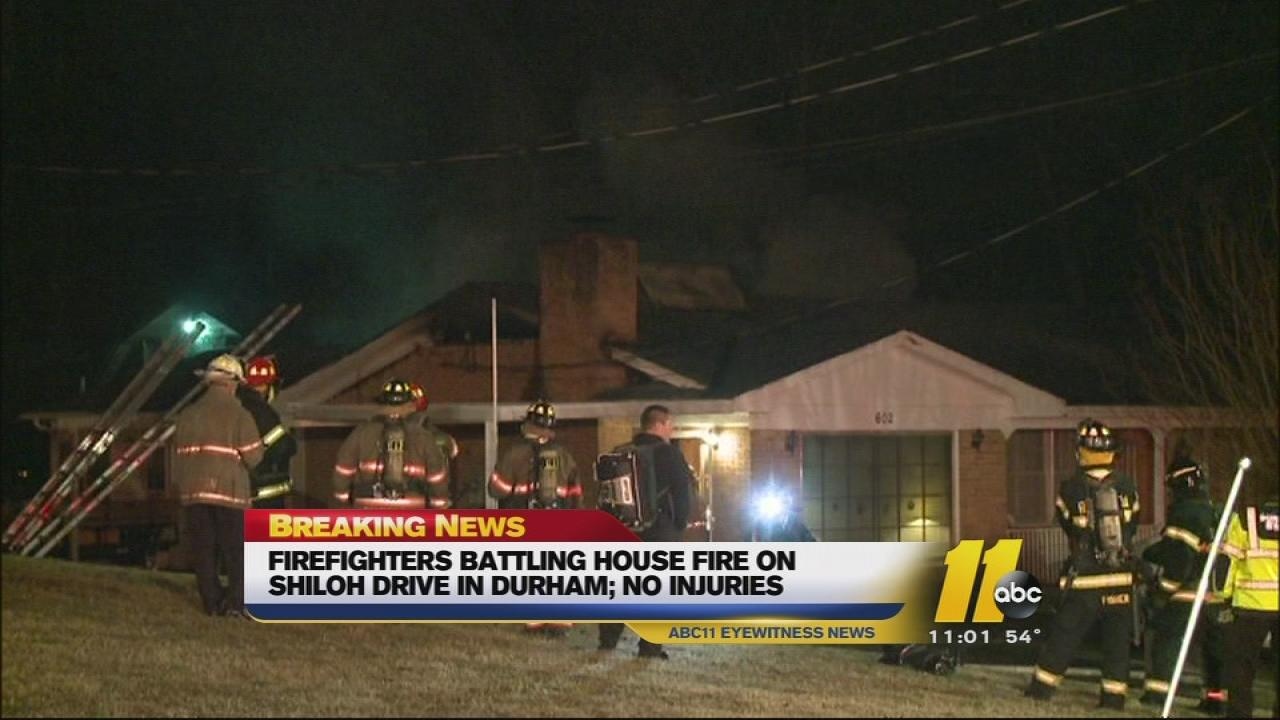 Durham house fire on Shiloh Drive.