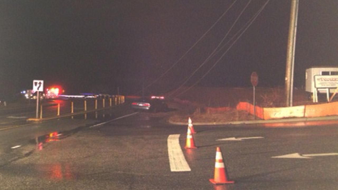 Power lines down after a vehicle crash near Clayton