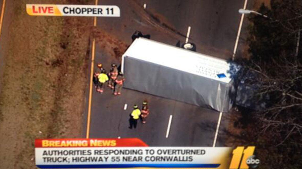 Overturned delivery truck blocked several lanes of NC Highway 55 in Durham Monday.