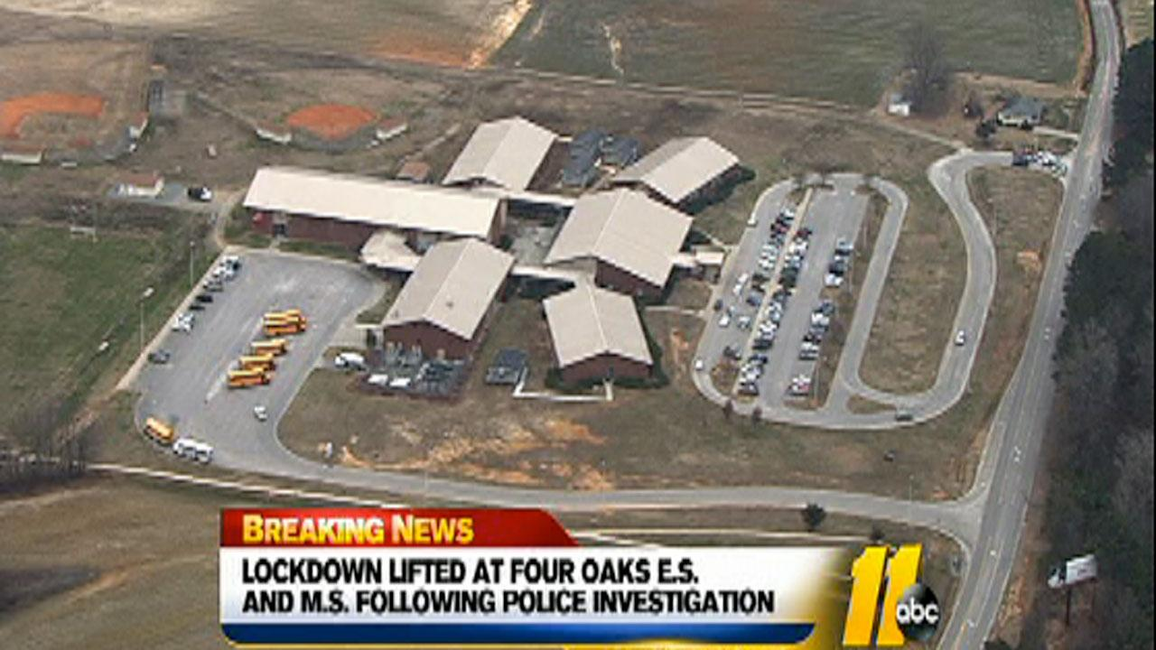 Four Oaks Elementary and Four Oaks Middle School were on lockdown at the request of law enforcement Thursday.