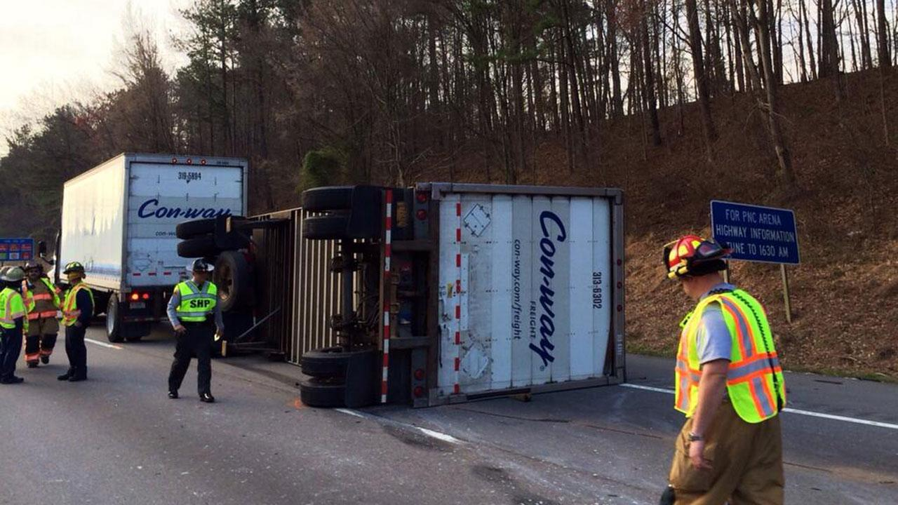 Traffic along Interstate 40 was stalled for miles during Tuesday mornings commute after a tractor trailer overturned on the roadway.