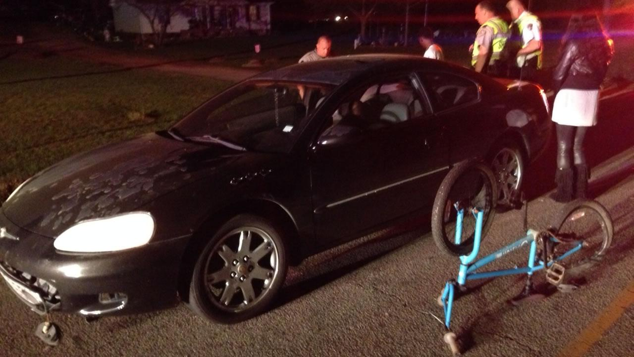 Teen on bicycle hit by car on Barber Mill Road.