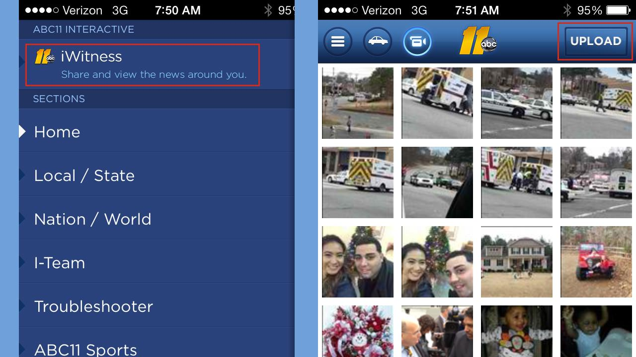 Upload photos and video from the ABC11 news app on iPhone