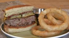 Richard Blais Burger with Candied Onions, Braised Bacon and Cheddar