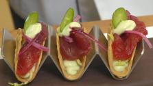 Mini Tuna Tacos with Avocado-Lime Cream