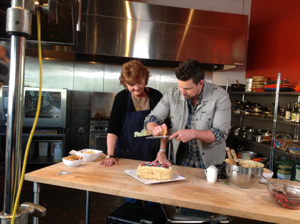 Ryan shows his mom Pat how to Cashew Brittle...