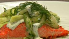 Grilled Salmon with Herbed Cucumber Salad