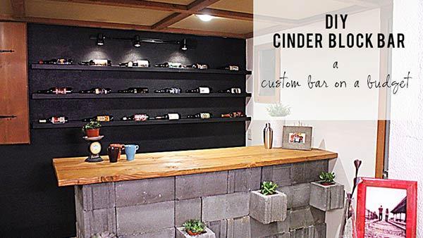 DIY Concrete Cinderblock Bar