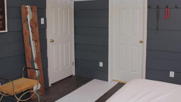 DIY Painted Striped Subfloor