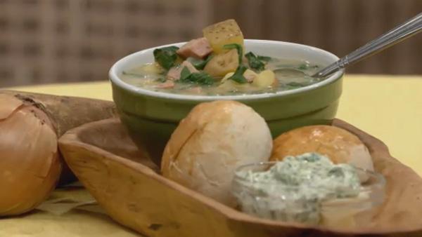 Onion, Potato, Spinach and Smoked Sausage Soup
