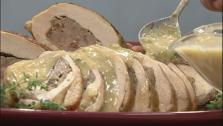 Grilled Sausage Stuffed Turkey Breasts with Cajun Gravy