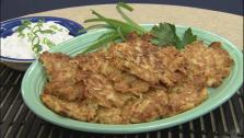 Potato Parsnip Latkes with Horseradish Sour Cream