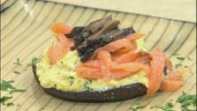 The secret of French scrambled eggs - Oeufs Brouilles - is the cooking.  They are cooked very slowly and stirred a lot so they are creamy and soft. These eggs feature French tarragon, roasted portobello caps, and thin pieces of smoked salmon.