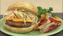 Black Pepper Bacon Pork Burgers with Apple Slaw