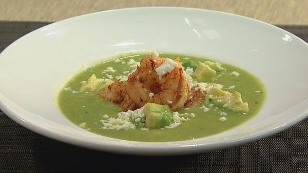 Asparagus Soup with Spicy Shrimp and Queso Fresco