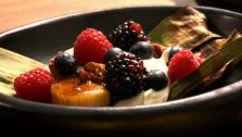 Honey-Grilled Plantains with Toasted Pecans, Cream and Berries