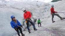 Climbing into a Glacier
