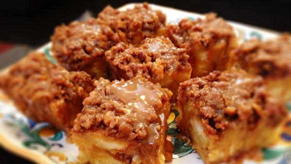 Pumpkin Caramel Praline Bread Pudding
