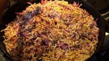 They prepare stir-fried purple and white cauliflower.