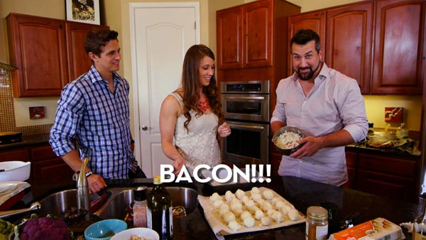 Joey Fatone, Matt Lucas, and Audrey Barbera showing off the Bacon Macaroon concoction.