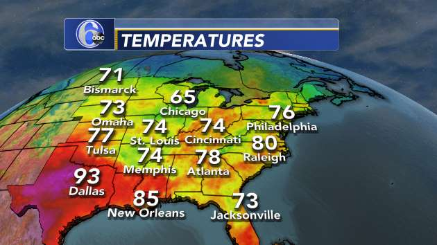Current Temperatures: Midwest- Eastern U.S. | 6abc.com