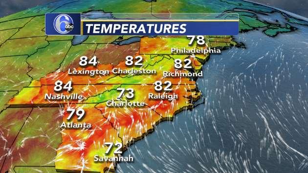 Current Temperatures - Southeast U.S. | 6abc.com